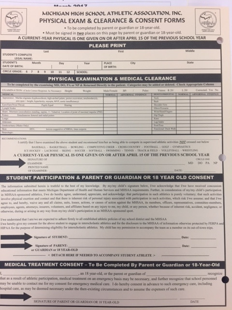 New Forms For Sports Physicals - Hudsonville High School Sports