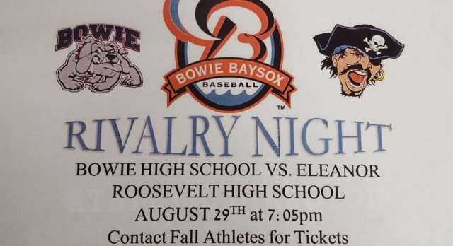 Bowie vs E. Roosevelt Rivalry Night @ Baysox Game
