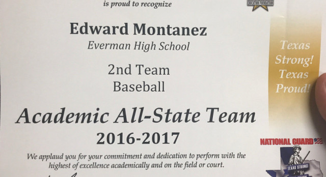Edward Montanez: 2nd Team Baseball Academic All-State!!