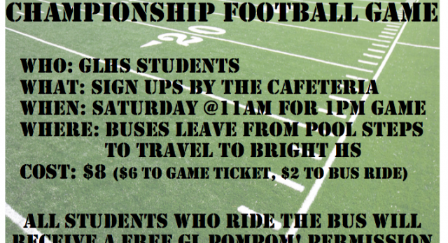 Sign Up for the Spectator Bus for Saturday's Football Semifinal Game!