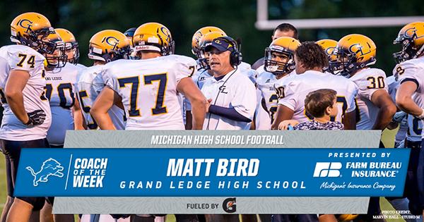 Coach Bird Named Detroit Lions High School Coach of the Week!