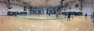 Panorama of the gym during the clinic.