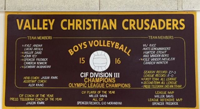 Valley Christian Honors 31st CIF Championship