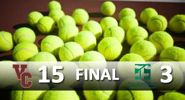 Valley Christian/Cerritos Boys Varsity Tennis beat Fairmont Preparatory Academy 15-3