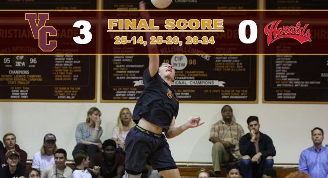 Valley Christian/Cerritos Boys Varsity Volleyball beat Whittier Christian High School 3-0