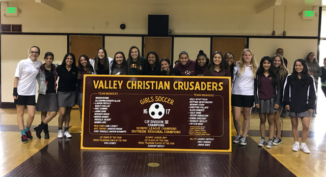 Girls Soccer Receives CIF Championship Board