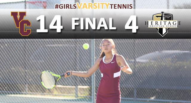 Valley Christian/Cerritos Girls Varsity Tennis beat Heritage Christian 14-4