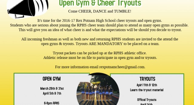 2016-17 Cheer Tryouts Coming Soon!!!