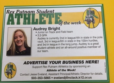 April 26th Athlete of the Week, Audrey Bright