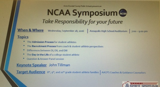 NCAA Symposium – September 28th