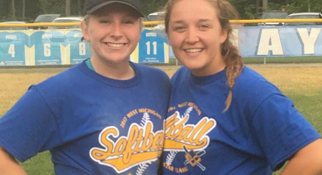 Meghan Boyd & Paige Mortensen play in West Michigan Softball All-Star Classic