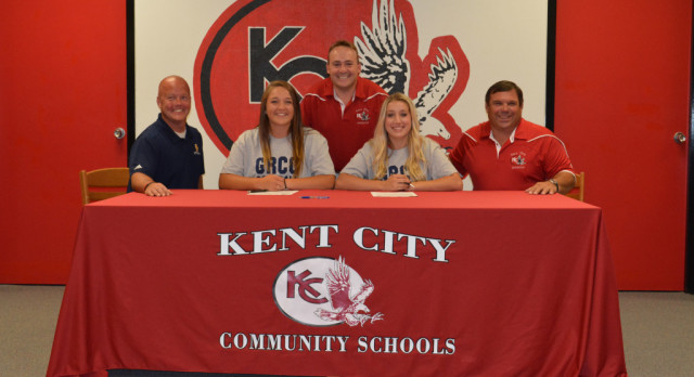 Paige Mortensen and Autumn O'Keefe sign with Grand Rapids Community College