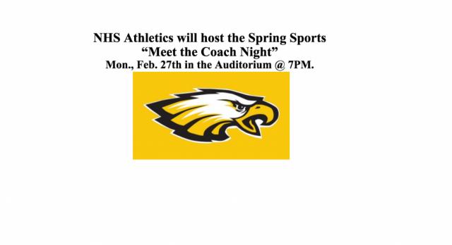 "Spring Sports ""Meet the Coach Night"" Info."