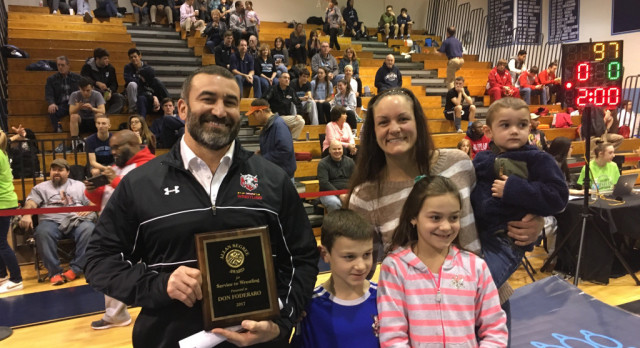 Coach Foderaro Receives Allan Segree Service to Wrestling Award