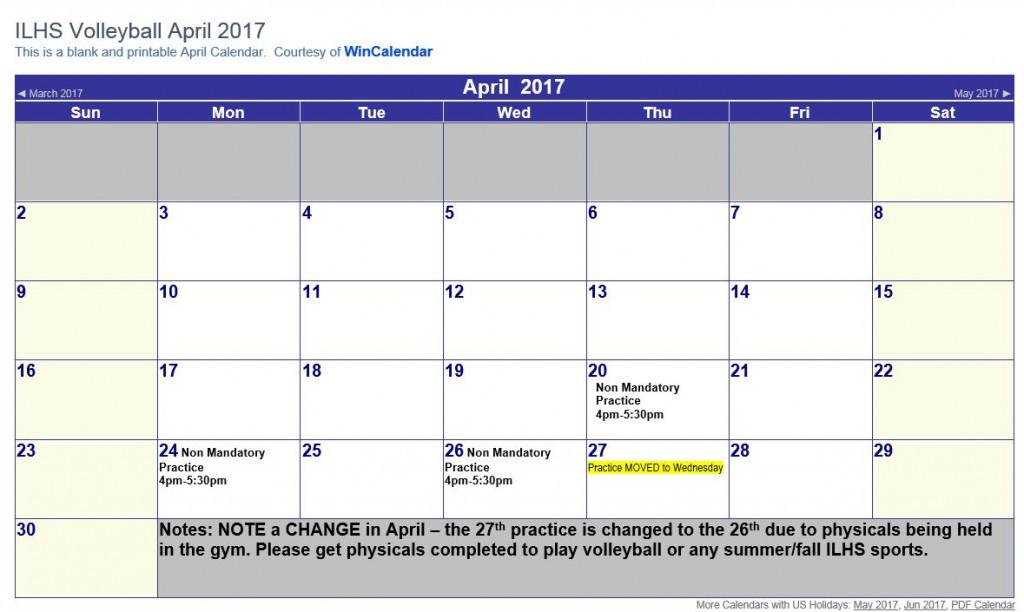 April 2017 Volleyball Calendar