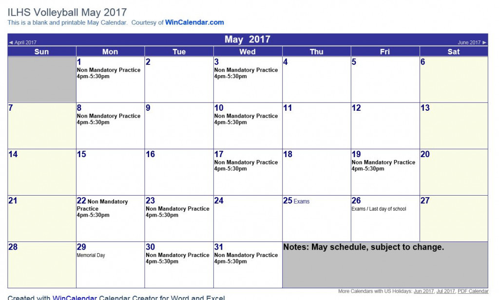 May 2017 ILHS Volleyball Schedule