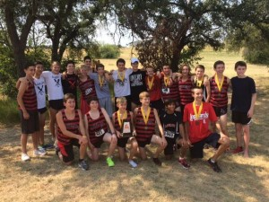 Lovejoy JV Boys XC Team win the 5A and Under division at the Cowtown Challenge