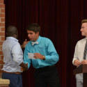 Coach Wilmer Ray (left) honored by Blake Pfaff (middle) and Luke Parker (right)