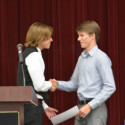 Grant Tiff (right) presents Outstanding JV Athlete Award to Whitson Bedell (left)