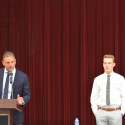 Head Coach Tim Denton (left) presents the Outstanding Hurdles Award to Luke Parker (right)