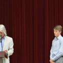 Coach Greg Christensen (left) recaps career of Grant Tiff (right)