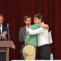 Coach Cody Alexander presents Outstanding Sprints Award to Jake Chamberlin
