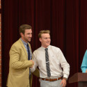 Coach Seth Vansell (left) honored by Luke Parker (middle) and Blake Pfaff (right)