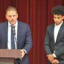 Head Coach Tim Denton (left) presents MVP Award to Chase Van Wagoner (right)