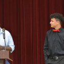 Coach Wilmer Ray (left) presents the Most Improved Award to Tyler Van Wagoner (right)