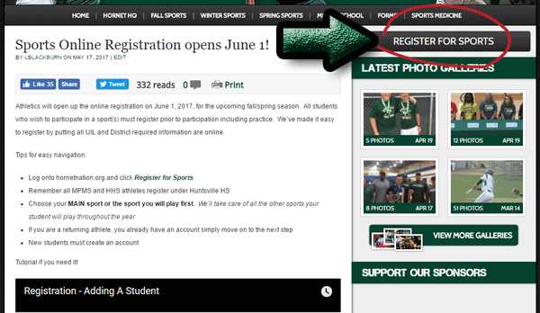 Sports Online Registration opens June 1!