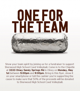 Coed Volleyball Chipotle Dine Out Night