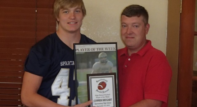 Connor Shugart honored at Touchdown Club Meeting