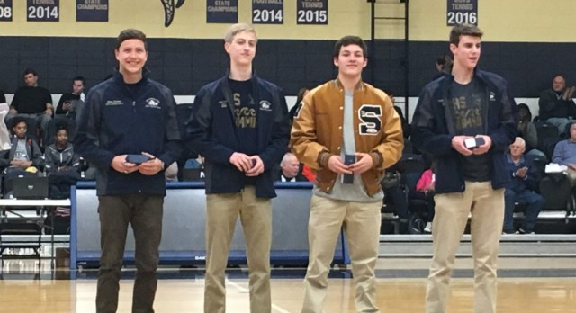 Boys relay swim team presented State Championship Rings