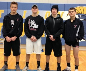 West Central HNAC Champions.  L to R, Dalton Sizemore at 152, Bryce Shepperd at 170, Kirk Bushong at 145, and Collin Fritz at 138.