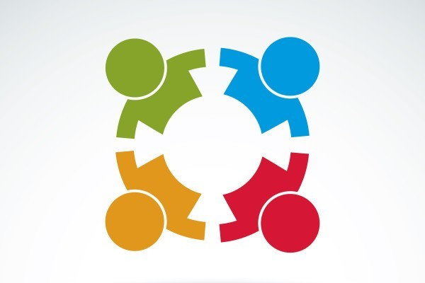 Teamwork and business team and friendship icon, social group, organization, vector conceptual unusual symbol for your design.