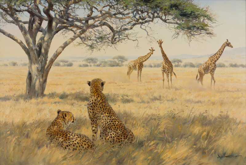 Cheetahs and Giraffes by Donald C. Grant (1930-2001)