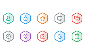 Colorful Hexagon Icon Vectors