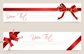 Holiday Banner PSDs with Bows