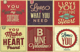 Retro Love Quote Vector Backgrounds