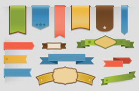 Ribbons, Banners, and Label PSD Pack