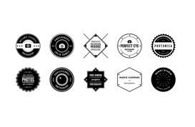 Black and White Photography Badges PSD Pack