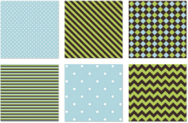 Blue and Green Seamless Vector Patterns