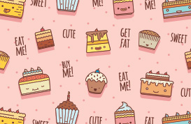 Funky Cakes Vector Pattern