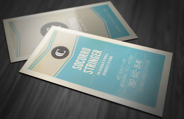 Vintage Vertical Business Card Template