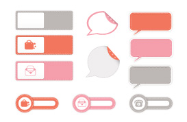 Stitched Label and Speech Bubble Vectors