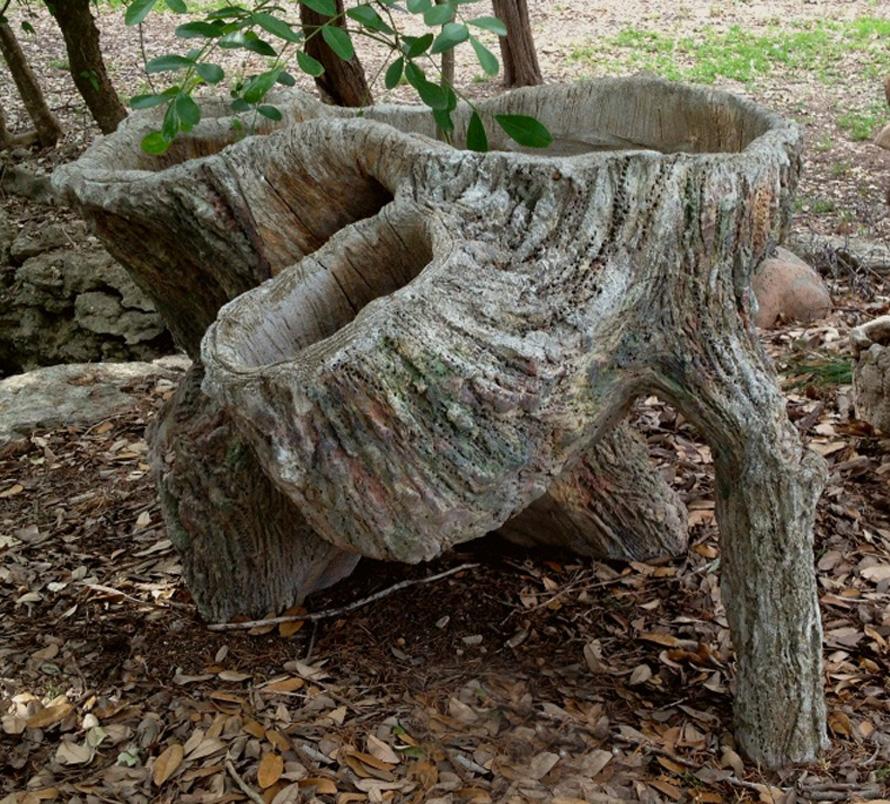 Faux Bois Cement : Sam murray large faux bois planter vintage