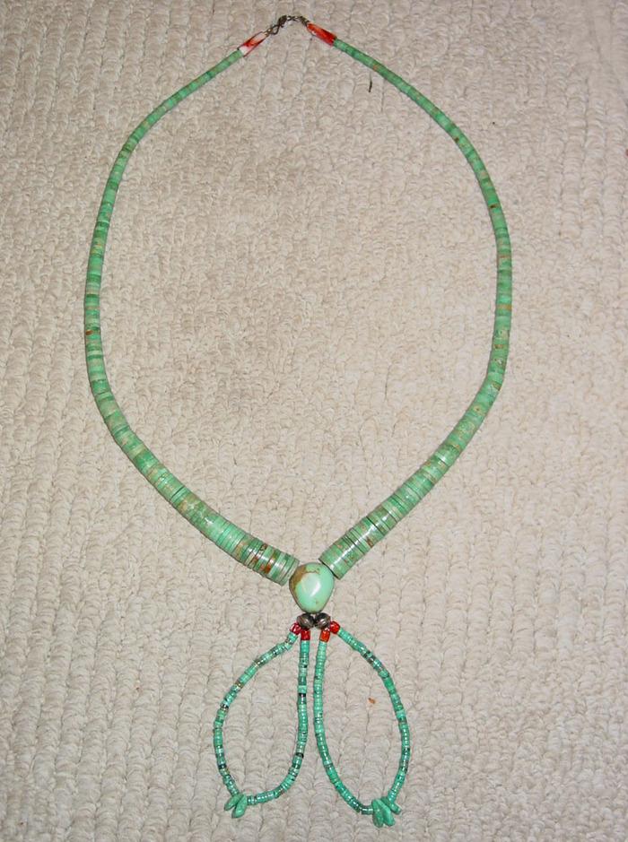 Vintage Turquoise Heishi Bead Necklace w/Joclas