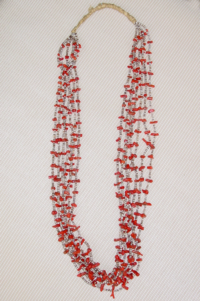 OLD PAWN NAVAJO RED CORAL AND PUKA SHELL NECKLACE MULTIPLE STRAND