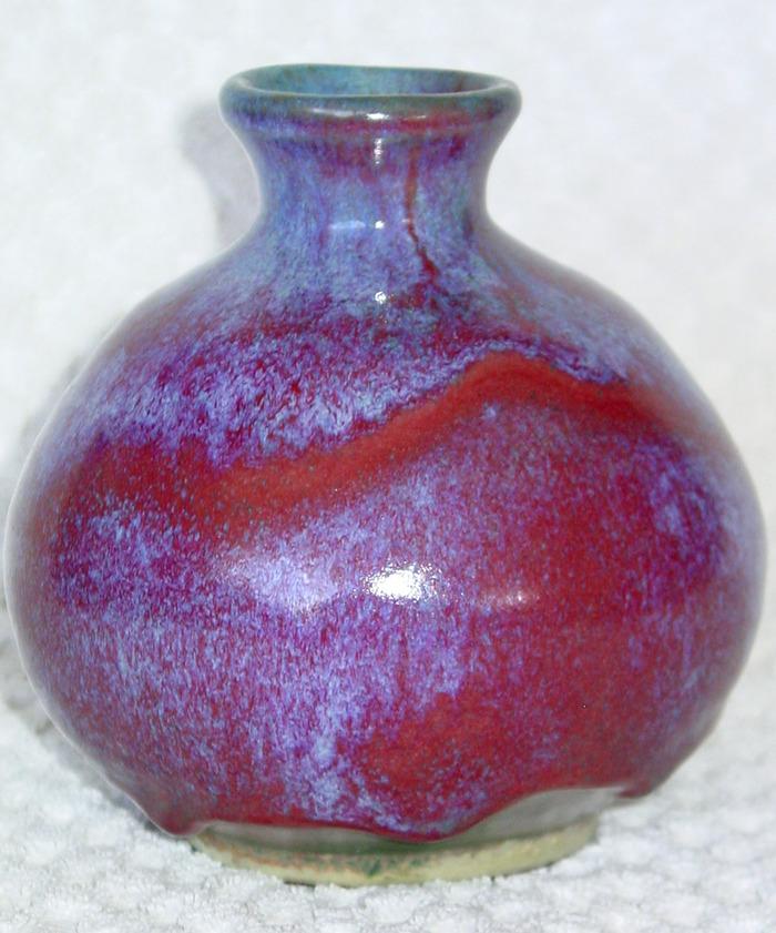 1972 Oriental Red and Blue Titanium Vase