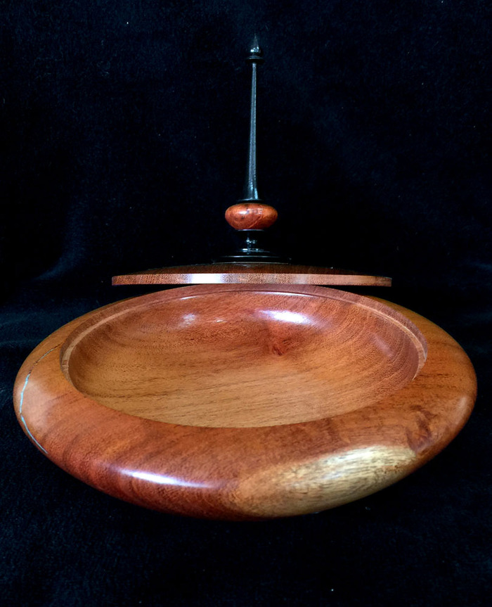 Mesquite Lidded Finial Box with Point on Top.